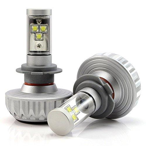 Preisvergleich Produktbild NIGHTEYE 2× H7 LED AutoScheinwerfer Birnen Kit 60W(30W Jede Birne) 4400 LM(2200LM Jede Birne) 6000K Weiß DC 12 - 24V Scheinwerferlampe mit CREE Chips Vier tönungsfolie 3 Jahre Garantie