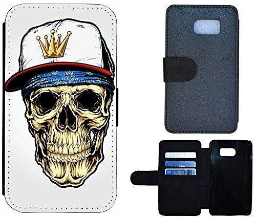 Schutz Hülle Flip Cover Handy Tasche Etui Case für (Apple iPhone 5 / 5s, 1072 Totenkopf Carton Basecap) 1072 Totenkopf Carton Basecap