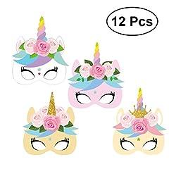 Idea Regalo - TOYMYTOY Maschere di unicorno | 12pcs, Maschera di carta faccia animale, bambini Bomboniere per feste di compleanno