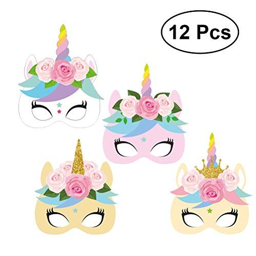 YeahiBaby 12pcs Arcoiris Unicornio Mascara de Fiesta y Cumpleaños Decoración de Unicornio