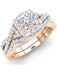 fd68b241a56 1.80 carats (CT) Or 18 K rond Oxyde de Zirconium CZ Mariage Halo Bague
