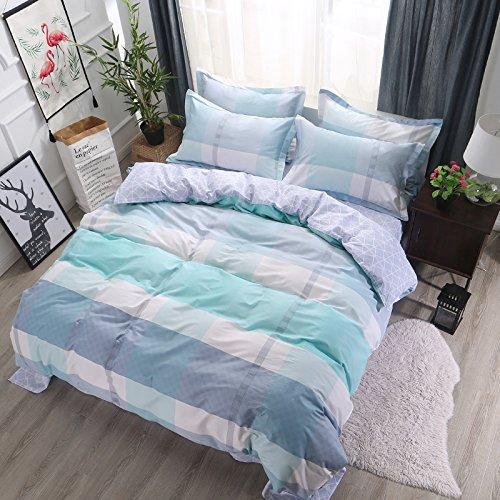 Zhiyuan Plaid Khaki 100% Baumwolle Bettbezug 2Kissenbezüge Set, Baumwolle, Türkis, King Size (Tröster Khaki)
