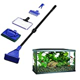 5x/Set Aquarium Tank Reinigungs-Set Fisch Net Kies Rake Algen Schaber Gabel Schwamm Bürste Glas Aquatic Reinigung Werkzeug