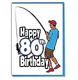 Pêche pêcheur carte d'anniversaire 80ans–Homme–Son fils–petit-fils–ami–Mari–Brother–Mate–Boyfriend