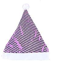 HEJIANGTAO Sombrero decoración navideña en Paillettes para niños, Morado.