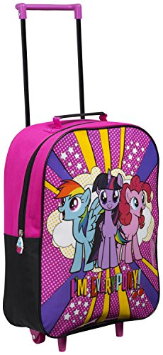 Disney Kids Trolly Cabin Bag Suitcase with Wheels and Telescopic Handle - Ideal for short breaks, holidays, sleepovers and school trips ( Paw Patrol, Minnie Mouse, Disney Princess, Frozen) (My Little Pony)