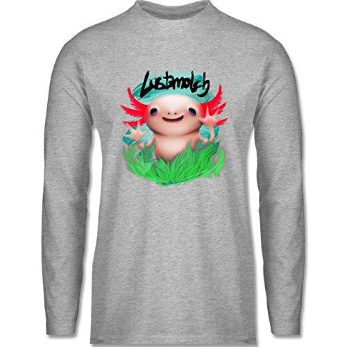 Shirtracer Sonstige Tiere - Lustmolch - Axolotl - Herren Langarmshirt Grau Meliert