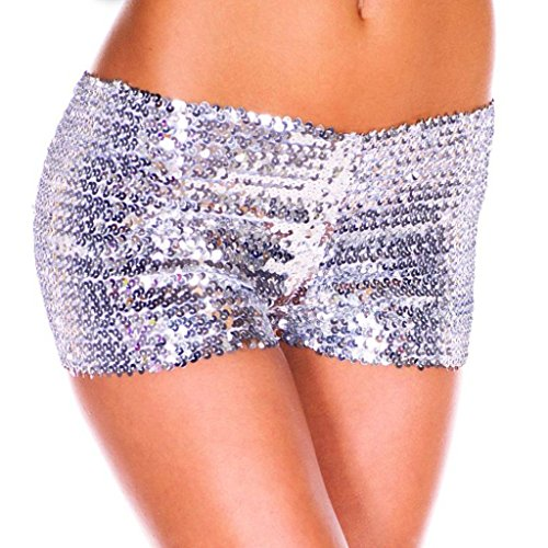 YiZYiF Damen Pailletten Shorts Elastische Shorty reizvolle Glitzer Party Tanz Kurz Hosen Club Tanz Kostüm Silber One Size (Silber Tanz Kostüm)