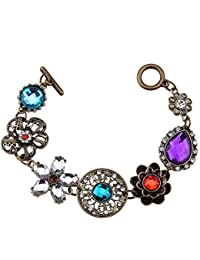 Young & Forever Gem Flower Multi-Colourcolored Crystals Bracelet for Women
