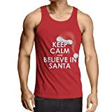 lepni.me Singlete Believe in Santa robe pour Noel (Large Rouge Multicolore)