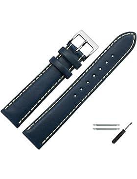 Uhrenarmband 20 mm Leder blau - echtes Rindsleder, mit heller Naht - inkl. Federstege & Werkzeug - Ersatzarmband...