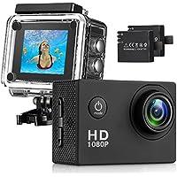Busuo macchina fotografica di azione 1080P 12 MP Sports Cam - HD macchina fotografica impermeabile di azione Camera Schermo di 2.0 pollici 140 ° di grandangolo e 2 batteria, Nero