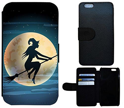 Flip Cover Schutz Hülle Handy Tasche Etui Case für (Apple iPhone 6 / 6s, 1508 Hexe Besen Halloween Mond) 1508 Hexe Besen Halloween Mond