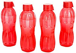 Signoraware Aqua Fresh Plastic Water Bottle, 500ml, Set of 4, Deep Red