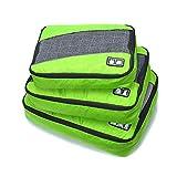 Juego de organizador de equipaje Weekender 3PCS Cubos de nylon impermeables Cubos de embalaje de valor Conjunto para maletas de viaje Bolsa de compresión Bolsas de compresión Maleta (Color: Negro, Azu