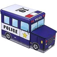 IDIMEX Sitzhocker Spielzeugtruhe Polizei in blau faltbar mit Abnehmbaren Deckel und Strauraum preisvergleich bei kinderzimmerdekopreise.eu