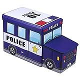IDIMEX Sitzhocker Spielzeugtruhe Polizei in blau faltbar mit abnehmbaren Deckel und Strauraum