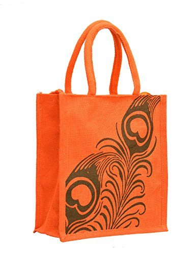 Orange Jute With Green Peacock Feather Printed With Orange Rope Handle Jute Burlap Lunch Tiffin Outdoor Handbag...