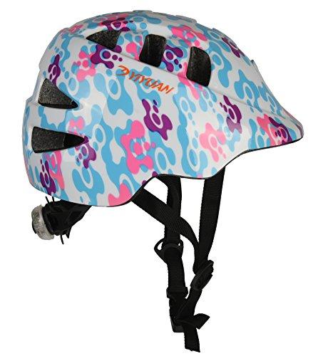 Yiyuan Kinder Fahrradhelm, Erwachsener Fahrrad-Sturzhelm-Fahrrad-Sturzhelm-Reithelm Road, Mountainbike Helm, Rosa, Blau und Weiss Farbe, S (52-56 cm), mit LED Lampe Y-18...
