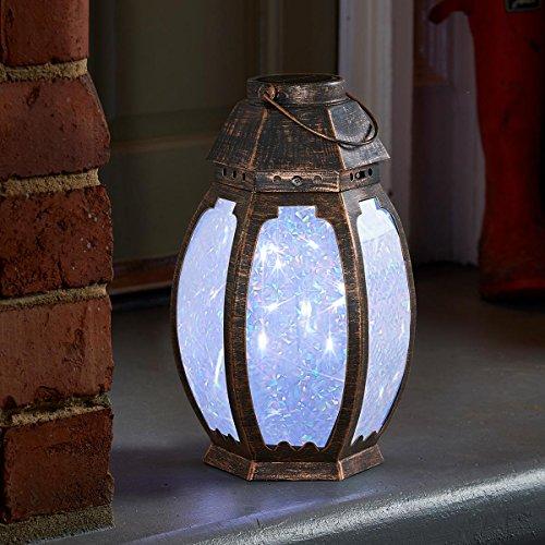 solarbetriebene Garten Laterne – Marvello – kupferfarben, 8 LEDs mit glitzernden Lichtzauber-Effekt, von Festive Lights