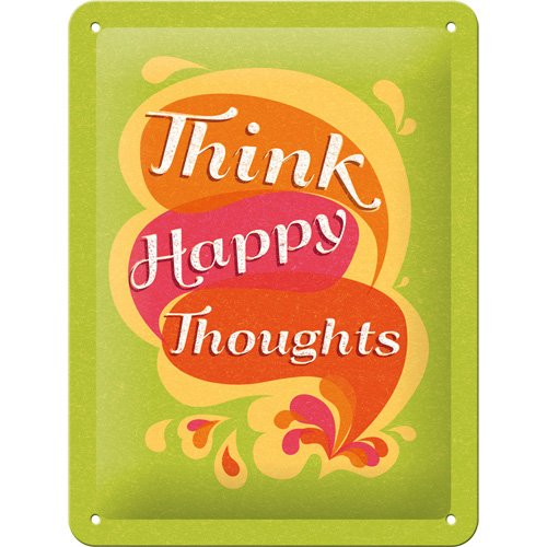 Nostalgic-Art 26155 Word Up - Think Happy Thoughts, Blechschild 15x20 cm