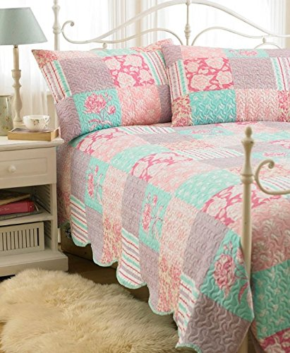 Luxury 3PC Quilted Country Vintage Bedspread Throw & 2 Pillow Shams Double King (Pink Purple Turquoise)
