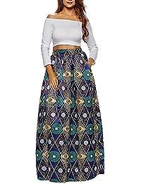 CLOCOLOR Falda Larga Plisada Encaje con Estampado Exótico Africano Para Mujer Talla Grande Casual Cintura Alta