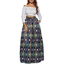 CLOCOLOR Falda Larga Plisada Encaje con Estampado Exótico Africano Para  Mujer Talla Grande Casual Cintura Alta 263716fd95f2
