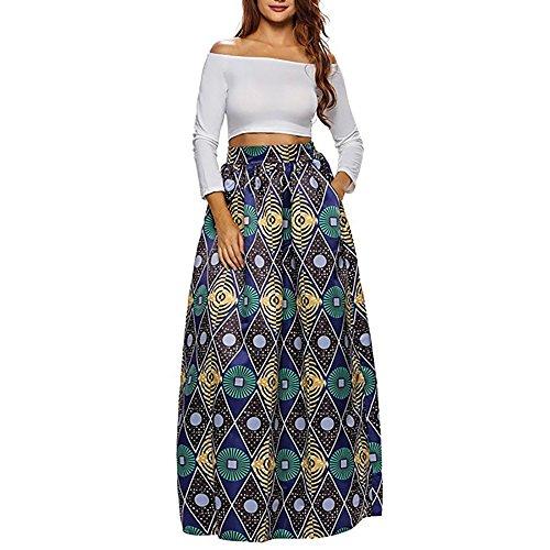 CLOCOLOR Falda Larga Plisada Encaje con Estampado Exótico Africano para Mujer Talla Grande Casual Cintura Alta Falda Vintage Longitud Maxi con Bolsillo, Verde XL (Cintura 78cm)