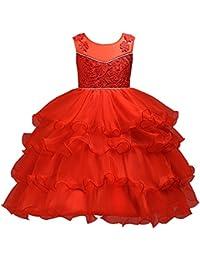 Vestido Volante Niña-Free Fisher Vestido Elegante de Princesa Fruncido Pastel para Dama de Honor Fiesta de…