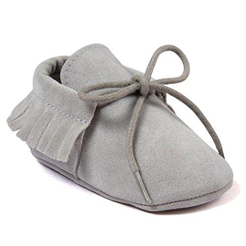 BZLine® Baby-Krippe Quasten weiche Sohle Schuhe Sneaker Schuhe Grau