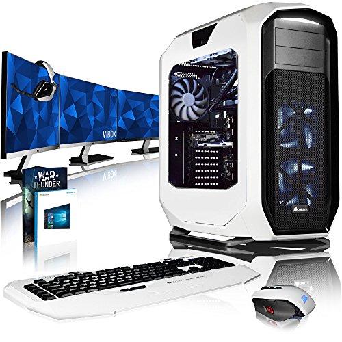 VIBOX Rapture L780-785 Pack PC Gamer - 4,5GHz Intel i7 Quad Core CPU, GTX 1080, VR prêt, Ordinateur PC de Bureau Gaming avec Watercooling paquet de jeux, avec Écran, Windows 10, Éclairage Interne Blanc (4,2GHz (4,5GHz Turbo) Processeur CPU Quad 4-Core Intel i7 7700K Kabylake Ultra Rapide, Carte Graphique MSI NVIDIA GeForce GTX 1080 Pascal 8Go ARMOR, 32 Go RAM Team Elite 2133MHz DDR4, SSD 240 Go, Disque Dur 3 To, Ventilateur de processeur PC Liquide Corsair H100i GTX, Boîtier Corsair)