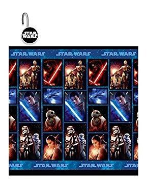 Das 13-teilige Disney Star Wars The Force Wecken Jedi Clubhouse Vorhang für die Dusche und Haken Set