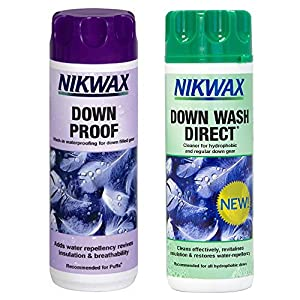 514J7aJlz2L. SS300  - NIKWAX DOWN PROOF EASY USE WASH IN WATERPROOFING FOR DOWN FILLED GEAR PACK OF 2 by Nikwax