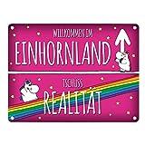 Honeycorns Metallschild mit Einhorn Stadtschild Motiv und Spruch: Willkommen im...