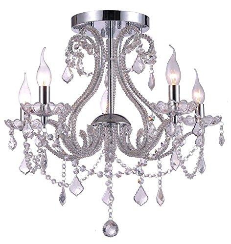 Kristall Kronleuchter Deckenleuchte Lüster Beleuchtung Wohnzimmer Deckenlampe Design Edel Modern Ø 54cm 5xE14 Fassungen