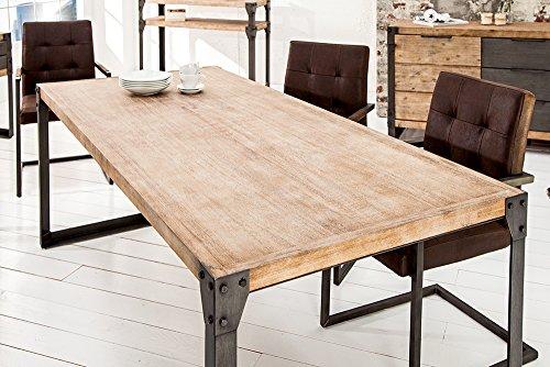 Massiver Esstisch FACTORY Akazie teakgrau weiß gekälkt 160cm Holztisch Massivholztisch Küchentisch Tisch Akazienholz