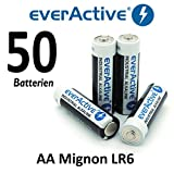50 x everActive Mignon AA LR6 MN1500 MX1500 Alkalinebatterie Batterien 2900 mAh
