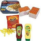 #11 Kaufladenzubehör Iglo Schlemmerfilet mit McCain-Frites und Ketchup-Majo - Kaufladen Pommes Ketchup Kinderküche Kaufmannladen Zubehör
