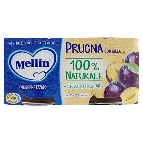 Mellin omogeneizzato di frutta prugna con mela 100% naturale - 24 vasetti da 100 gr