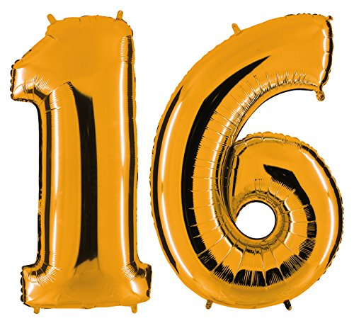 PartyMarty Ballon Zahl 16 in Gold - XXL Riesenzahl 100cm - zum 16. Geburtstag - Party Geschenk Dekoration Folienballon Luftballon Happy Birthday GmbH
