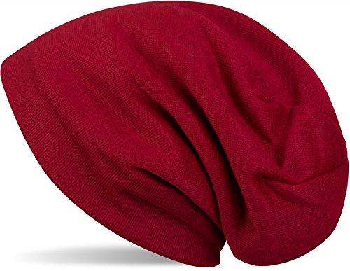Fleece Snowboard Beanie (styleBREAKER warme Feinstrick Beanie Mütze mit sehr weichem Fleece Innenfutter, Longbeanie unifarben, Unisex 04024092, Farbe:Bordeaux-Rot)