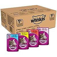Whiskas Katzenfutter Nassfutter 1+ für erwachsene Katzen - saftige Auswahl in Sauce, 84 Portionsbeutel (1 x 84 x 100 g)