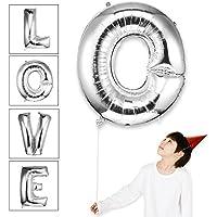 Globos decorativos para fiestas de cumpleaños con las formas de los números del 0 al 9 y de las letras del alfabeto de la A a la Z. Globos de helio, metálicos, de Mylar, 101 cm (40 pulgadas), color plata