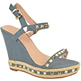 Mujeres Damas Con Tachas Sandalias De Cuña De Tiras plataformas Vaquero Zapatos de verano Talla - Azul Medio Vaquero, 40