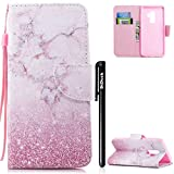 Handyhülle Samsung Galaxy S9,Samsung Galaxy S9 Hülle Marmor,BtDuck Ultra Slim Weich Silikon Cover Innere Stand Hülle mit Magnet Lederhülle Flip Case Tasche Samsung Galaxy S9 Rosa Marmor