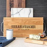 Personalised Chopping Board In Walnut or Oak/Large Wooden Chopping Board/Personalised Gift For Couple - Large 40x20cm + Handles