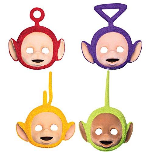 (4 Party-Masken * TELETUBBIES * für Kindergeburtstag oder Motto-Party // Mask Verkleidung Kostüm Kinder Geburtstag Tele Tubbies)