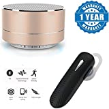Captcha P10 Wireless 3W Super Bass Mini Metal Aluminium Alloy Portable Bluetooth Speaker With Mic With K1 Bluetooth Headset V4.1 Stereo Wireless Handsfree (One Year Warranty)