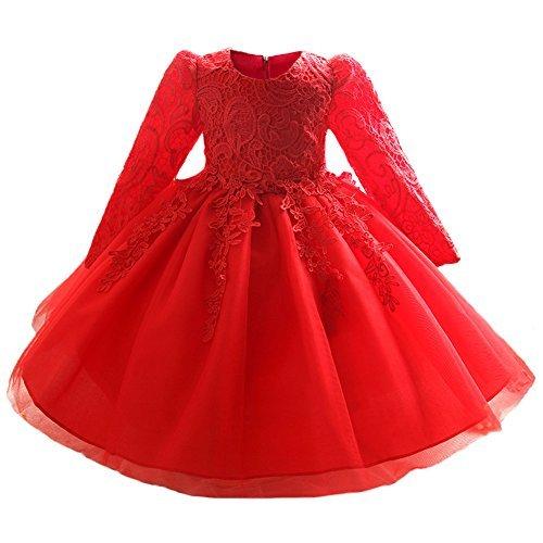 Myosotis510 Mädchen-Spitze-Prinzessin-Hochzeits-Taufkleid-lange Hülse formale Partei-Abnutzung für Kleinkind-Baby-Mädchen (0-6 Monate, Rot)